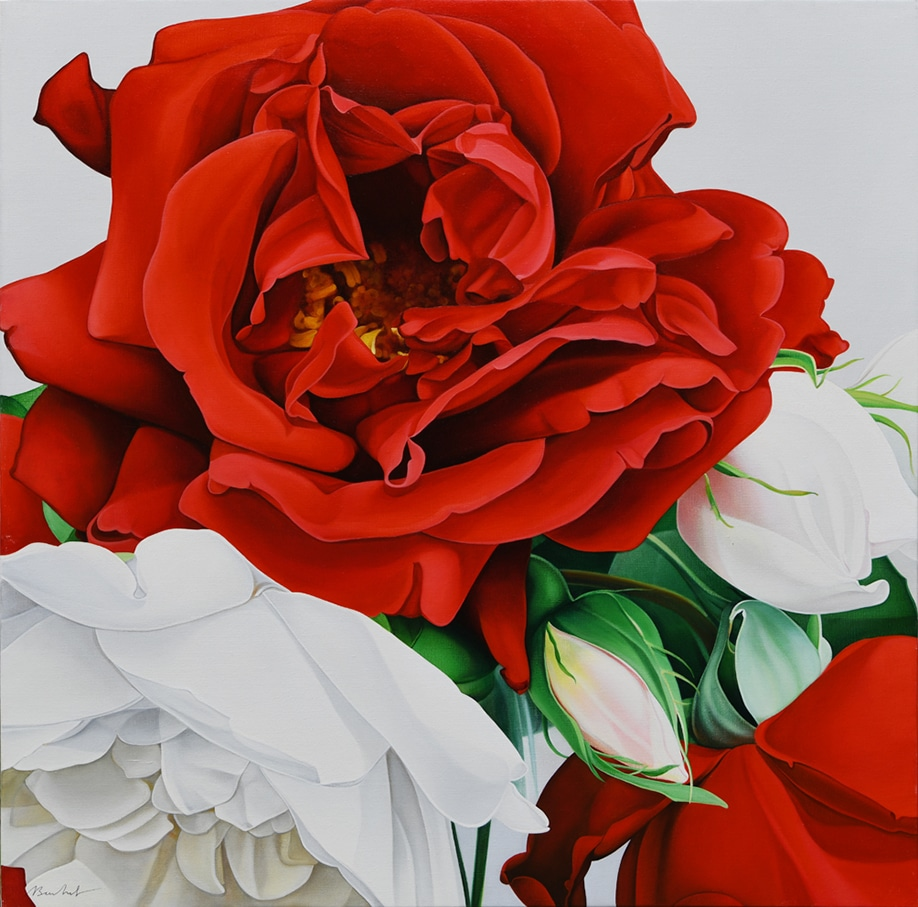 9. Roses Vert et Rouge 2 - AST - 100 x 100 cm